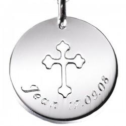 Bijoux Baptême Pendentif Croix gravée