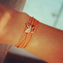 bracelet médaille papillon gravé