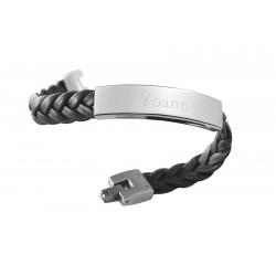 bracelet homme cuir tressé gravé