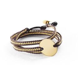 Bracelet médaille perles personnalisé marron