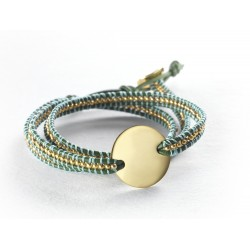 Bracelet perles vert personnalisé gravé