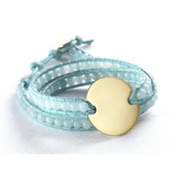 Bracelet médaille perles personnalisé bleu