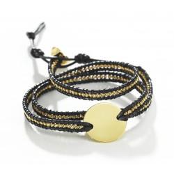 Bracelet médaille perles personnalisé noir