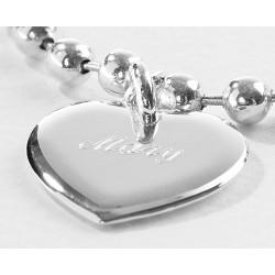 Bracelet chaine et médaille coeur personnalisé argent