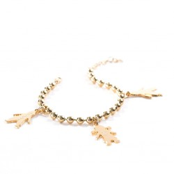 Bracelet chérubin gravé plaqué or