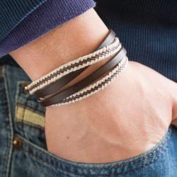 bracelet homme cuir gravé