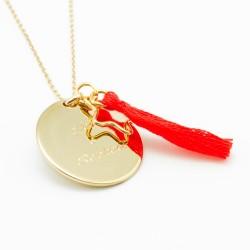 Sautoir médaille personnalisé pompon gravé