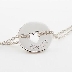 bracelet chaine coeur personnalisé argent