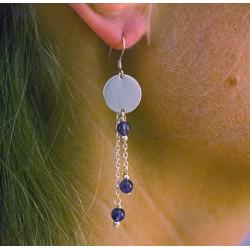 Boucles d'oreilles chaine perlée - Argent