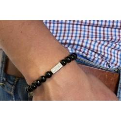 Bracelet perles - Agathes noires