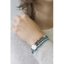 Bracelet perles femme - Agate marron panaché - Argent 925