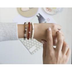 Bracelet perles femme - Agate rouge terracotta - Argent 925