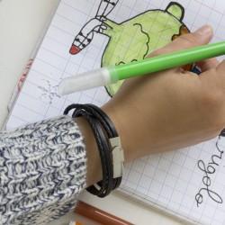 Le bracelet  cuir enfant noir -double tour et acier