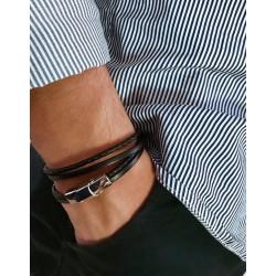 Le bracelet cuir enfant marron-double tour et acier