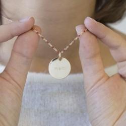 Collier Chaine perles émaillées roses- Plaqué or