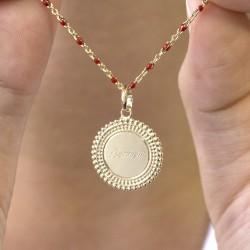 Collier chaine émaillée rouge médaille perlée - Plaqué or