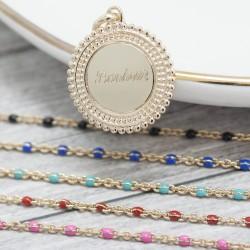 Collier chaine émaillée bleue médaille perlée - Plaqué or