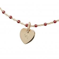 Bracelet Chaine perles émaillées rouges - Plaqué or