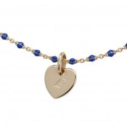 Bracelet Chaine perles émaillées bleues - Plaqué or