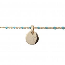 Bracelet Chaine perles émaillées turquoises - Plaqué or