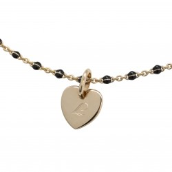 Bracelet Chaine perles émaillées noires - Plaqué or