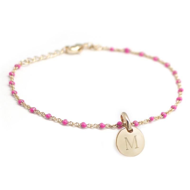 Bracelet Chaine perles émaillées roses - Plaqué or