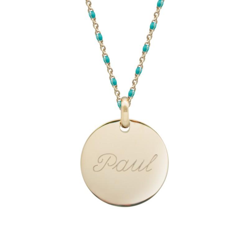Collier Chaine perles émaillées turquoises - Plaqué or
