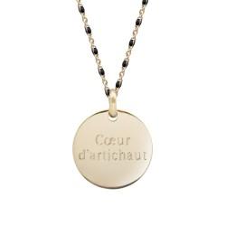 Collier Chaine perles émaillées noires- Plaqué or
