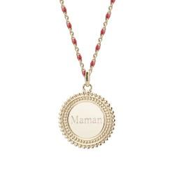 Collier médaille perlée chaine émaillée rouge  - Plaqué or