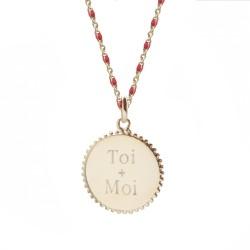 Verso Collier médaille perlée chaine émaillée rouge  - Plaqué or