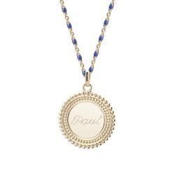Collier médaille perlée chaine émaillée bleue  - Plaqué or