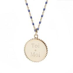 Versdo Collier médaille perlée chaine émaillée bleue  - Plaqué or