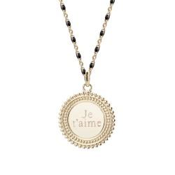 Collier médaille perlée chaine émaillée noire - Plaqué or