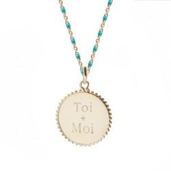 Verso Collier médaille perlée chaine émaillée turquoise - Plaqué or
