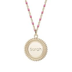Collier médaille perlée chaine émaillée rose - Plaqué or