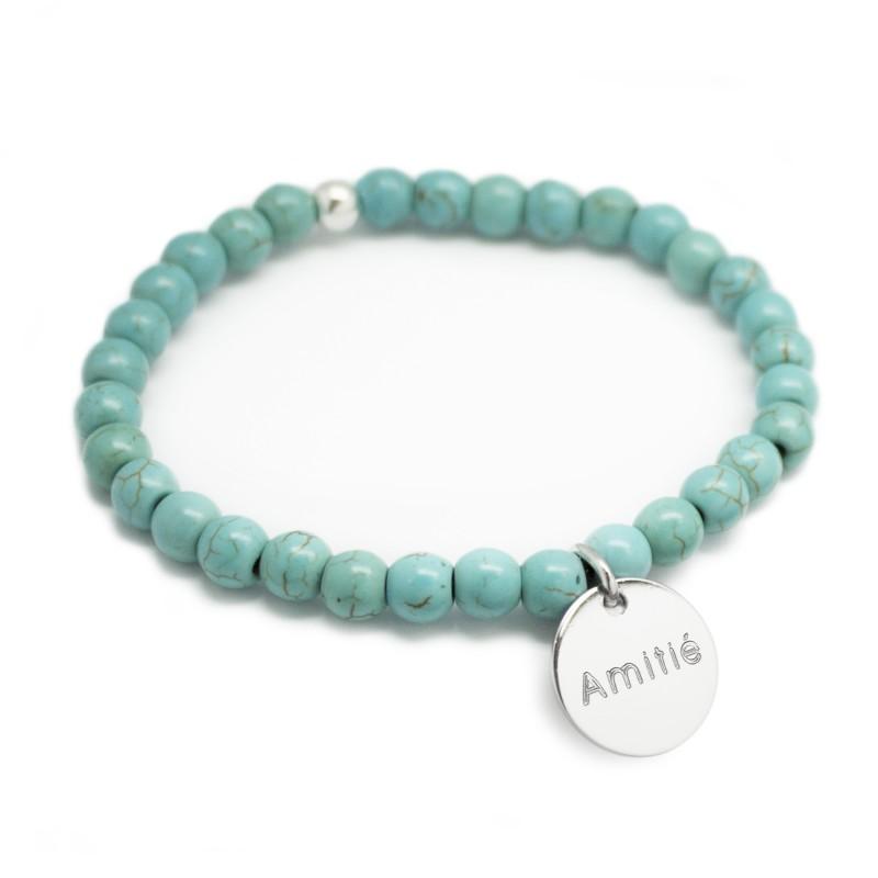 Bracelet perles femme - Agate turquoise - Argent 925