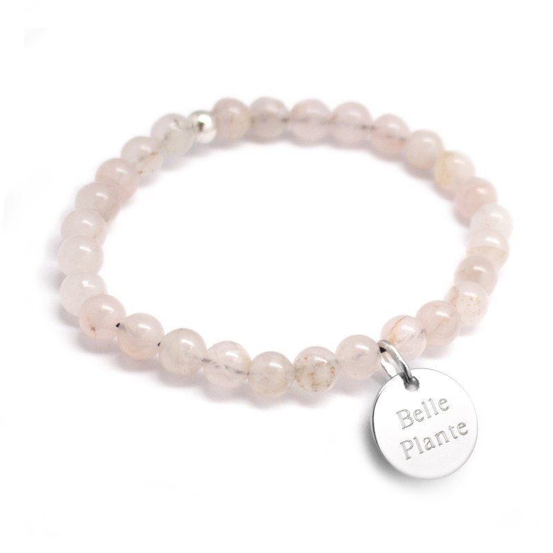 Bracelet perles femme - Agate blanc rosé - Argent 925