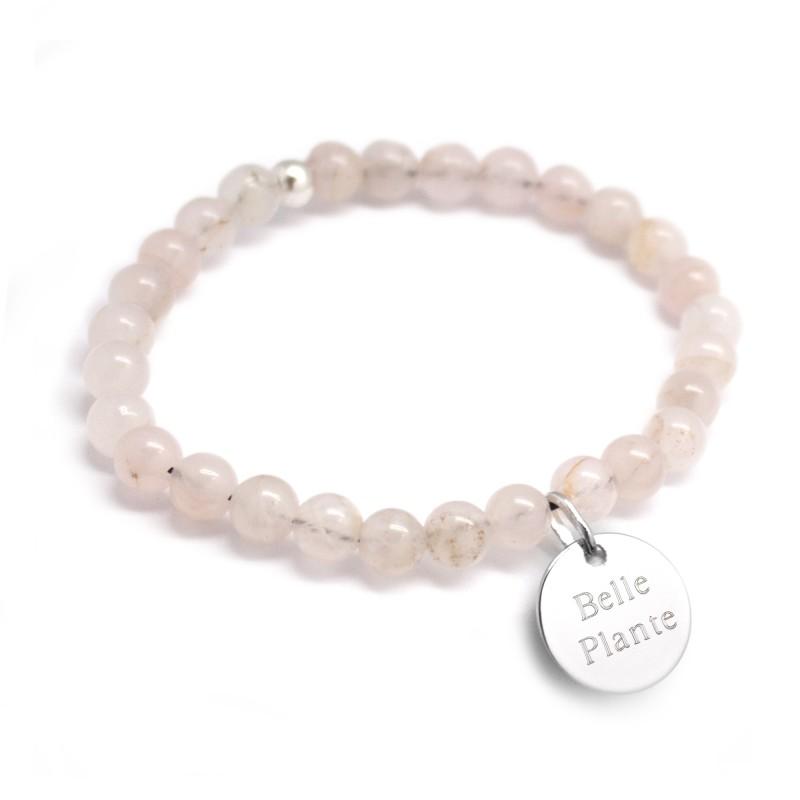 meilleure sélection 6584e c689d Bracelet perles femme en agates blanc rosé à graver - Petits Trésors  Typographie de la gravure Enfantine