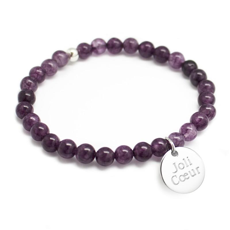 Bracelet perles femme - Agate violette - Argent 925