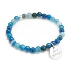Bracelet perles femme - Agate bleue - Argent 925
