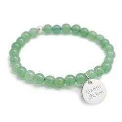 Bracelet perles femme - Agate vert d'eau - Argent 925
