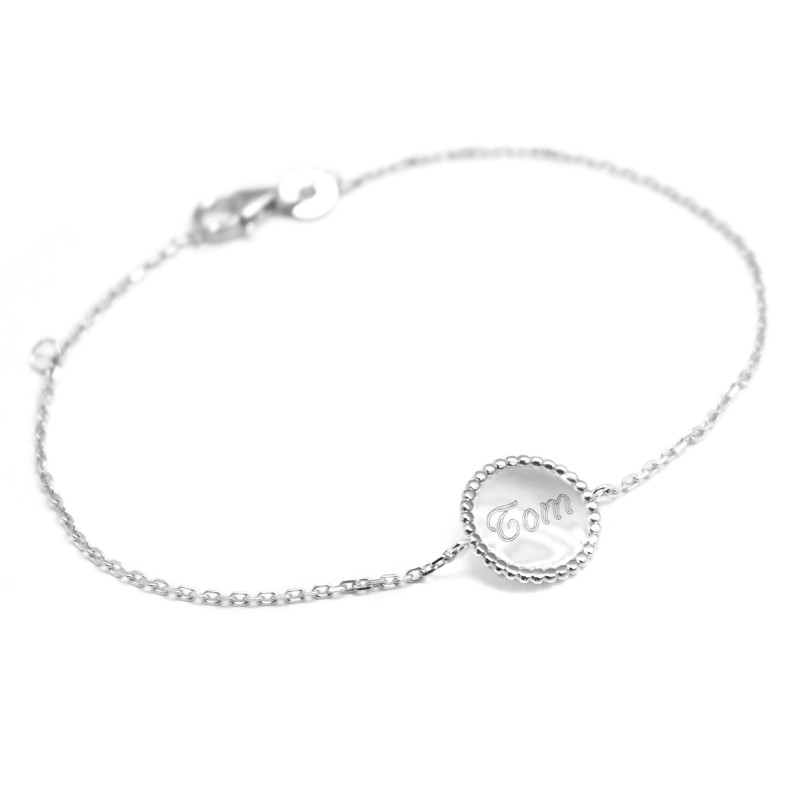 Bracelet Jeton perlé - Argent
