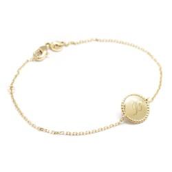 Bracelet Jeton perlé - Plaqué or