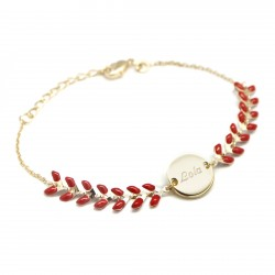 Bracelet chaine épis émaillés rouges - Plaqué or