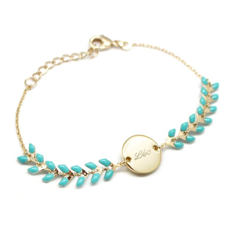 Bracelet Chaine épis émaillés turquoises - Plaqué or