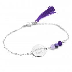 Bracelet Bahia Violet - Argent