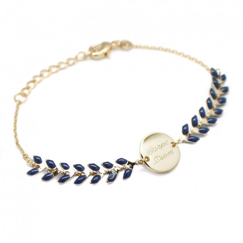 Bracelet Chaine épis émaillés bleus - Plaqué or
