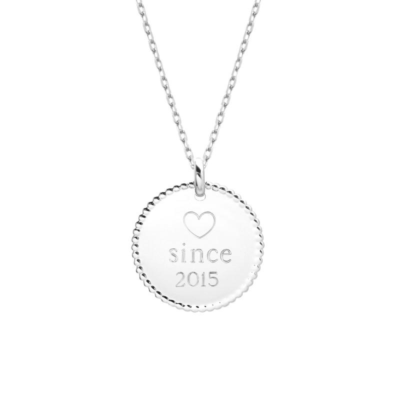 Collier Médaille Perlée - Argent