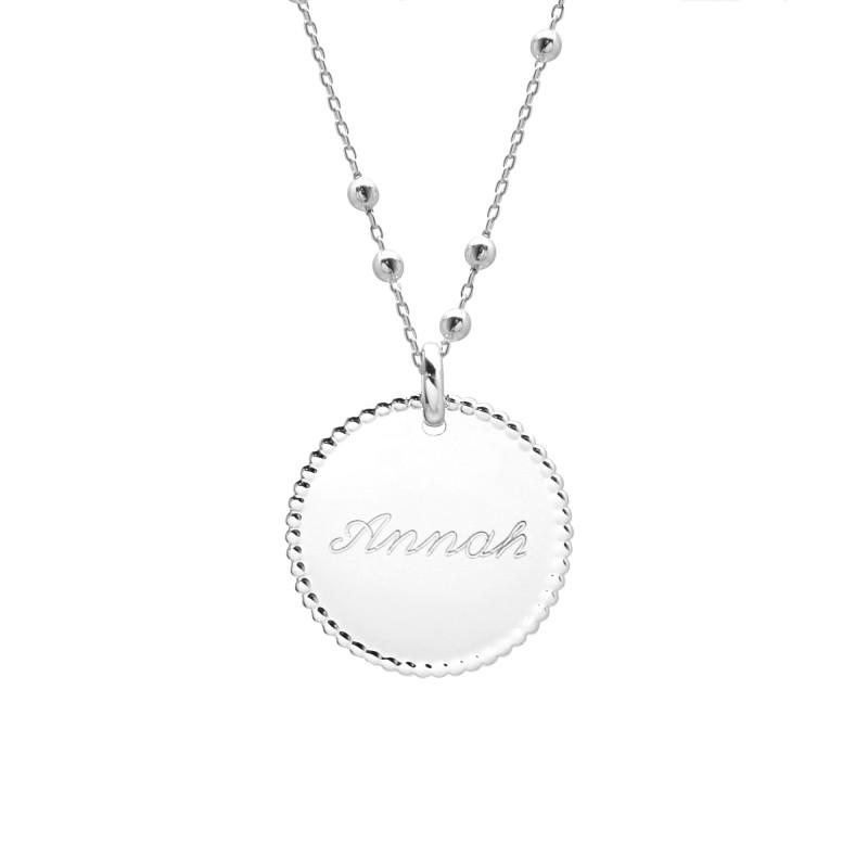 Collier Médaille Perlée et Chaine Perlée - Argent