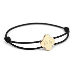 Bracelet cordon Trèfle - Plaqué or